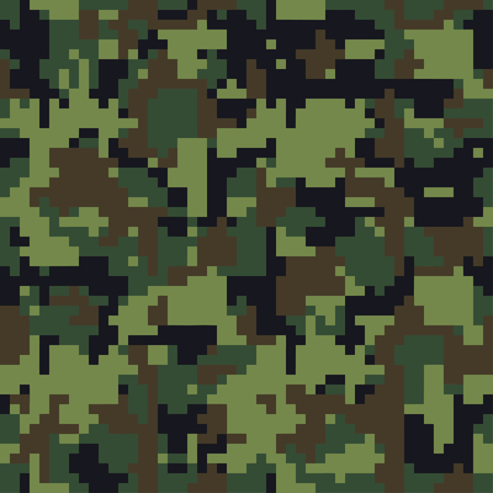 Pixel camo. Seamless camouflage pattern. Military camouflage texture. Green, brown. Forest, soldier, camouflage. Vector fabric textile print designs. Green camo 8 bit.