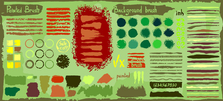 Grunge big set of spots paint, ink brush strokes, brushes, lines. Dirty artistic design elements, boxes, circles, round frames. Vector illustration. Isolated on background. Freehand drawing. Illustration