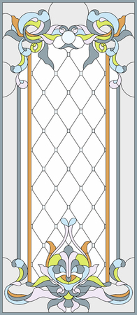 Stained-glass panel in a rectangular frame, abstract floral arrangement of buds and leaves in the art Nouveau style. Decorative design of the window or door. Vector illustration
