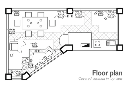 Floor plan, top view. The interior design project of terrace. The cottage is a covered veranda. Layout of the apartment with the furniture icons. Vector architecture blueprint.