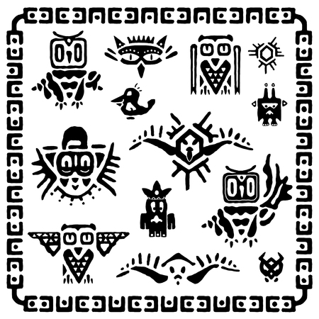 set of tribal owls. Ancient maya elements and symbols. Black and white silhouette of birds. Cartoon collection of ethnic hand drawing style. Vector illustration Vettoriali