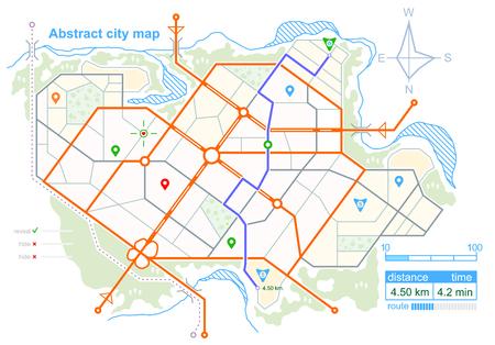 指定された道路ルートを持つ架空の都市の一般的なマップ。計画上の町の通りのスキーム。ナビゲーション アイコンと GPS ダッシュボード。ストッ  イラスト・ベクター素材