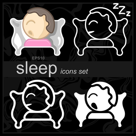 Set Icons of a sleeping person on pillow. Simple, modern flat and thin line vector illustration. 向量圖像