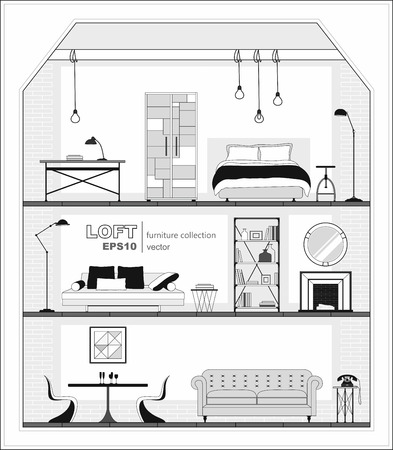 Set of apartment interiors with furniture icons. Vector illustration.