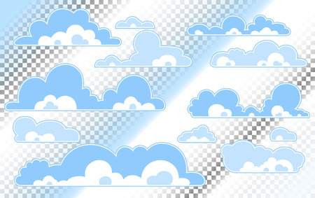 Cartoon Blue sky with clouds on the shiny day. Silhouette of white fluffy clouds isolated on blue background. Vector set