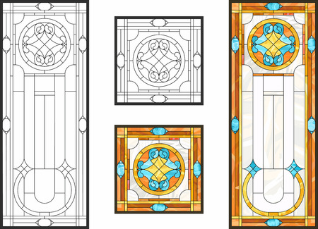 Abstract geometric floral pattern in a rectangular and square frame / Colorful stained glass window in a classic style for a ceiling or door panels, Tiffany technique. Vector set 矢量图像