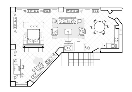 Floor plan, top view. The interior design terrace. The cottage is a covered veranda. Layout of the apartment with the furniture. Vector architecture  イラスト・ベクター素材