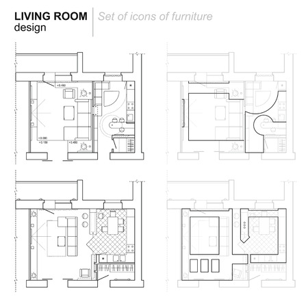 The architectural plan. the layout of the apartment with the furniture in the drawing view. Top. Accommodation with kitchen, living room. Vector illustration.
