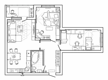 Floor plan with furniture in top view. Architectural set of furniture. Detailed layout of the modern apartment. Vector blueprint.
