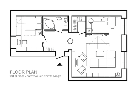 Architectural plan of a house. Layout of the apartment top view with the furniture in the drawing view. With bathroom living room and bedroom. The interior design project. Vector architectural icons.