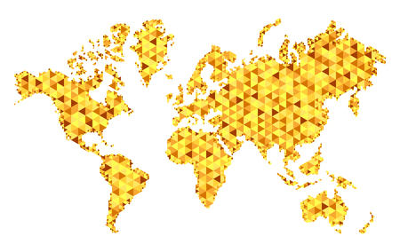 Vector golden world map, in mesh style, fashionable design. Earth planet on white background.