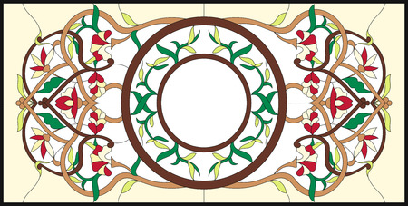 Stained glass window at the ceiling with abstract swirls and leaves. Square ornament colorful floral symmetric composition. Classic  style. Vector illustrations. Çizim