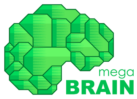 Brain Logo silhouette side view design vector template. Brainstorm think idea Logotype concept icon. Illustration