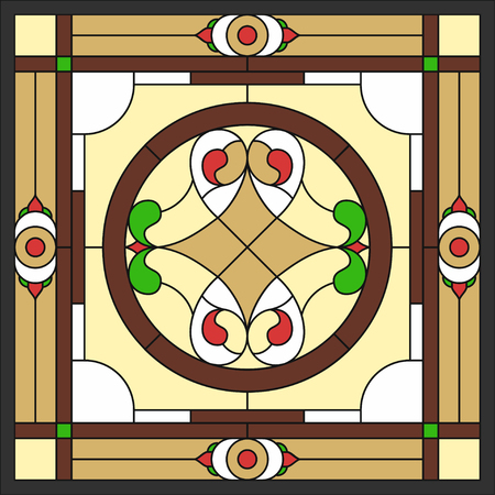 Ceiling panels stained glass window. Abstract Flower, swirls and leaves in a square frame, geometric ornament, symmetric composition,   classic style. Vector illustration.