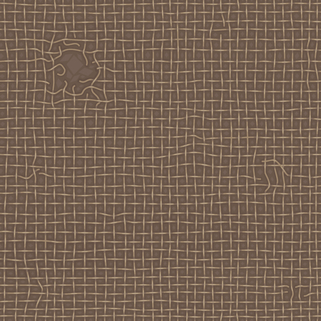 Realistic old ragged texture of brown burlap. Torn canvas, seamless pattern. Vector background.