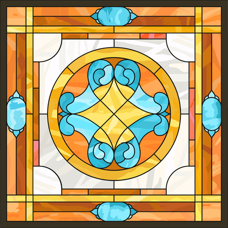 Ceiling panels stained glass window. Abstract Flower, swirls and leaves in a square frame, geometric ornament, symmetric composition,  classic style. Ilustração