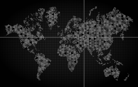 World map of planet earth, pointer of coordinate detection. Geolocation finding calculation. Geographic location indicator in the world. Vector Çizim