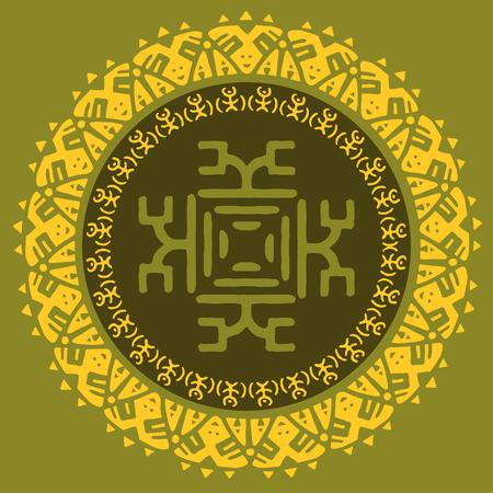 Hand drawn round frame, decorative design element, circle tribal border ornament. Vector
