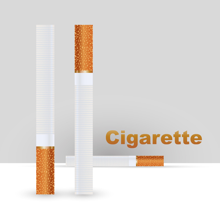 Realistic cigarettes with orange filter, on a white background, Tobacco Smoking. Vector illustration Illustration