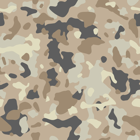 Camouflage pattern background, seamless illustration. Classic military clothing style. Masking camo repeat print. Beige, brown, ocher colors desert texture.