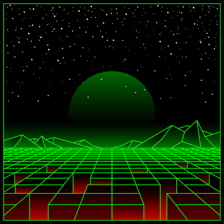 Futuristic retro landscape of the 80`s. Vector futuristic illustration of sun with mountains in retro style. Digital Retro Cyber ??Surface. Suitable for design in the style of the 1980s. 일러스트