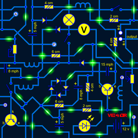 seamless background of the electrical circuit of a device (resistance, transistor, diode, capacitor, inductor).