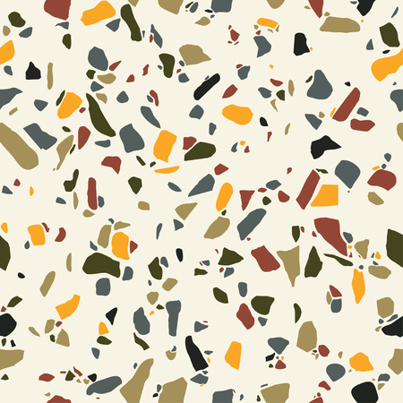 Texture Terrazzo Floor, abstract colorful seamless pattern. Marble tile surface area. Stone colored mosaic  background. Stock Illustratie