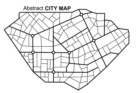 City map. Line scheme of roads. Town streets on the plan. Urban environment, architectural background. Standard-Bild - 109807154