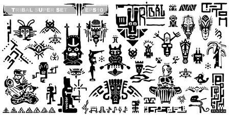 Conjunto de iconos tribales y notas musicales. Elementos y símbolos antiguos de los mayas. Animales dibujados a mano silueta en blanco y negro y criaturas fantásticas. Colección de dibujos animados de dibujo de estilo étnico.