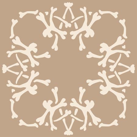 The pattern of bones. Square ethnic tribal ornament. Embroidery background. Bandanna, shawl, design for textile fabric print. Illusztráció