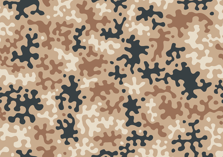 Camouflage seamless pattern for your design. Beige, brown, ocher colors desert texture. Military army masking camo repeat print.