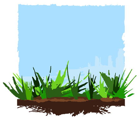 Summer Background, green grass and blue sky. Banner with space for text. Hand drawing Vector Ilustração