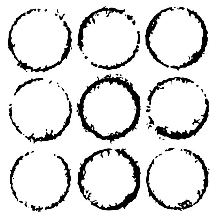 Vector ink round frames. Circle label for image. Grunge black borders, isolated on the background. Hand draw template Illusztráció