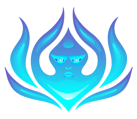 Abstract winter cold icon. Frost character. Vector illustration