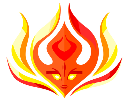 Flame face icon - vector template concept illustration. Red fire sign. Hot warm symbol. Design element.