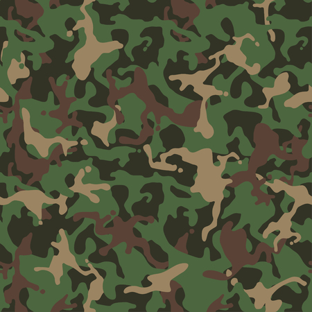 Camouflage pattern, seamless texture. Millatry print. Forest masking camo for hunting. Vector wallpaper Ilustração