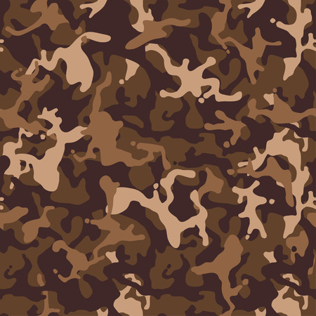 Brown beige camouflage seamless pattern. Modern military camo texture. Desert masking color. Stock vector illustration. Vettoriali