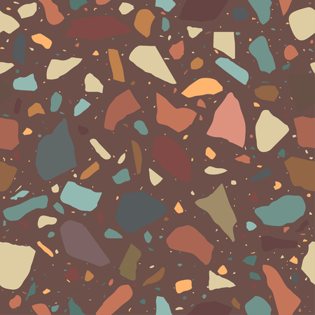 Terrazzo pattern, stone floor. Marble surface with colored pebble. Vector seamless background Illustration