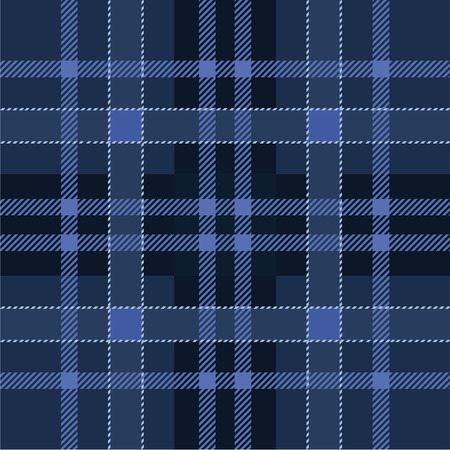 Dark navy and blue scottish tartan plaid. Seamless pattern. Traditional woven texture. Checkered fabric. Vector background.