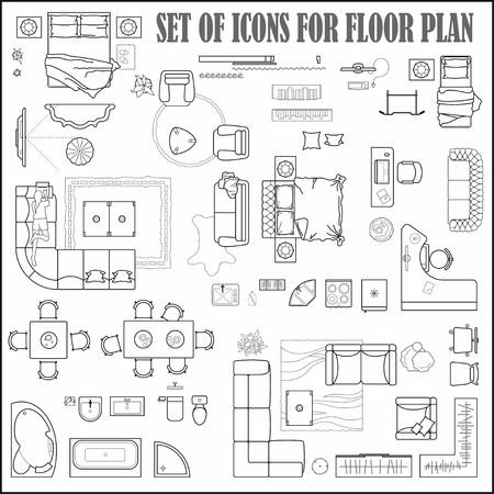 Floor plan icons set for design interior and architectural project (view from above). Furniture thin line icon in top view for layout. Blueprint apartment. Vector Ilustração