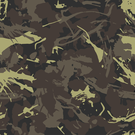 Urban camouflage, modern fashion design. Camo military protective. Army uniform. Grunge pattern. Green and brawn shade color, fashionable, fabric. Vector seamless texture. Archivio Fotografico - 113635519