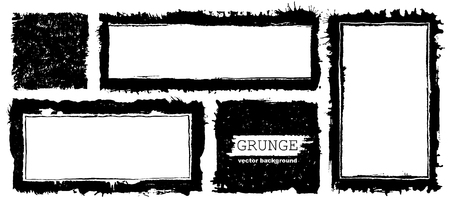 Vector Frames. Squares and rectangle for fill image. Distress texture with dirt effect. Grunge black borders isolated on white background. Vector Illustration