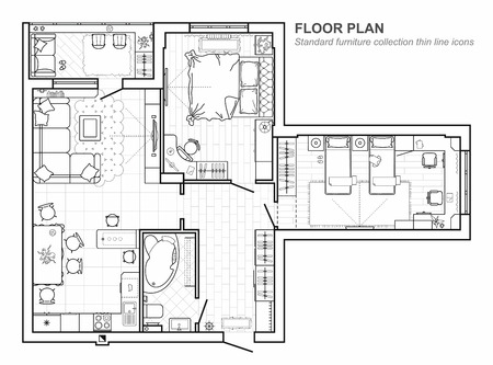 Floor plan with furniture in top view. Architectural set of furniture. Detailed project of the modern apartment. Vector interior blueprint. Illustration