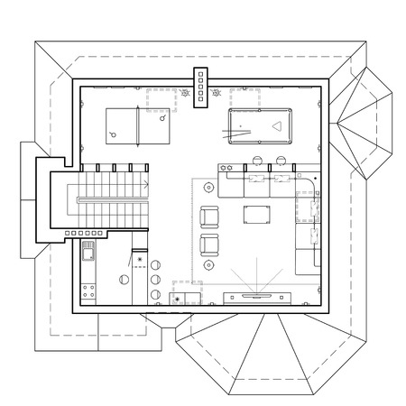The attic floor in the cottage. Architectural plan of a house. Layout of the apartment with the furniture in the drawing view. Top view, with a pool table, living room and kitchen. Vector icons.