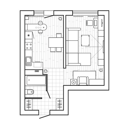 Architecture plan with furniture. House floor plan. Kitchen, lounge and bathroom. Thin line icons set. Interior design, top view. Vector Vettoriali