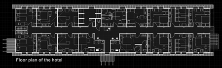 A set of thin line vector icons for interior planning. Floor Plan design project of hotel rooms. Standard living rooms with a bedroom and a kitchen.