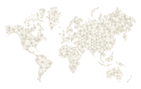 Vector white stylized world map, mesh style, fashionable design. Earth planet on white background.