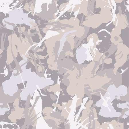 Tender camouflage pattern with elements for paint. Pastel color grunge camo wallpaper. Textile, sport and urban clothes, wrapping paper. Abstract fashionable vector.