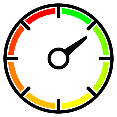Colored meter with an arrow. Simple speedometer, round gauges for web, mobile and infographics. Vector icon isolated on white background. Illusztráció