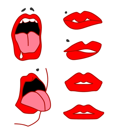 Set of sexy lips, open mouth with tongu, expressing different emotions. Vector isolated on white background Illustration